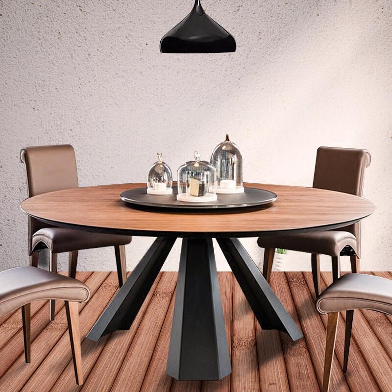 简易大圆桌实木餐桌家用带转盘饭店餐厅吃饭桌子现代简约酒店桌椅