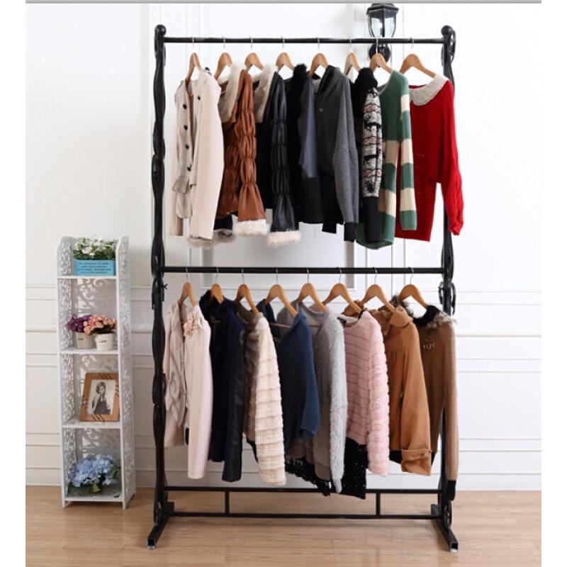 欧式铁艺服装架服装店衣架两层展示架婚纱架挂衣服架子落地式货架