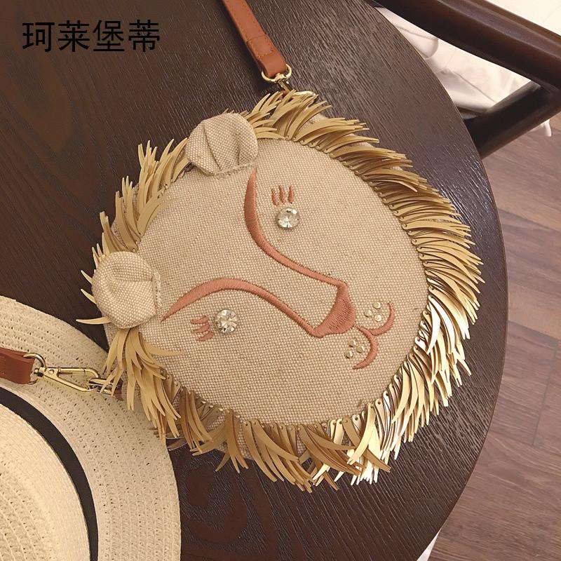 珂莱堡蒂2016女包卡通可爱狮子头小圆包时尚绣花女式单肩包hp712