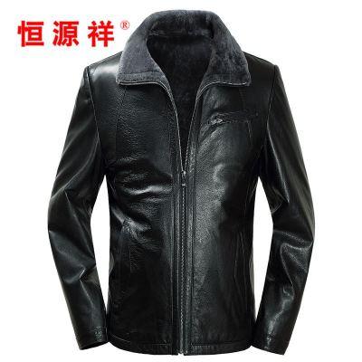 2016新款山羊皮男式夾克大衣外套冬 棕色綿羊皮 165/m圖片