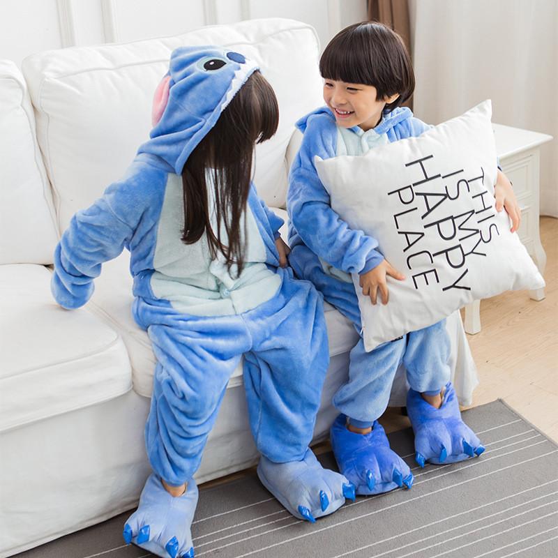 法兰绒蓝史迪奇卡通动物连体睡衣如厕版儿童亲子家居睡服