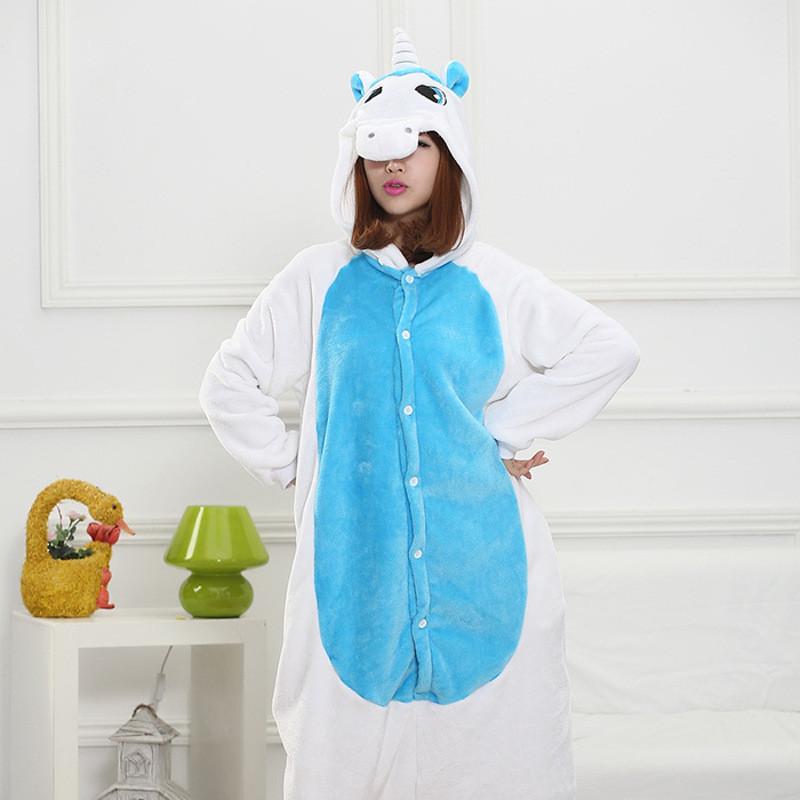 法兰绒如厕版长袖蓝角兽卡通动物连体睡衣男女同款儿童居家睡衣