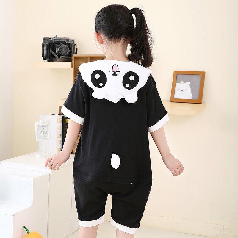 夏季天短袖卡通动物儿童连体睡衣纯棉熊猫家居服可爱春秋男女孩