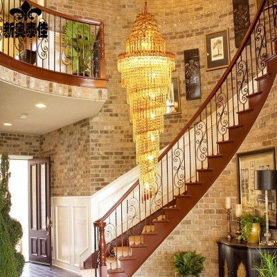 新奥泰佳金黄色螺旋旋转楼梯水晶灯 别墅复式楼梯灯长吊灯 圆形客厅灯图片