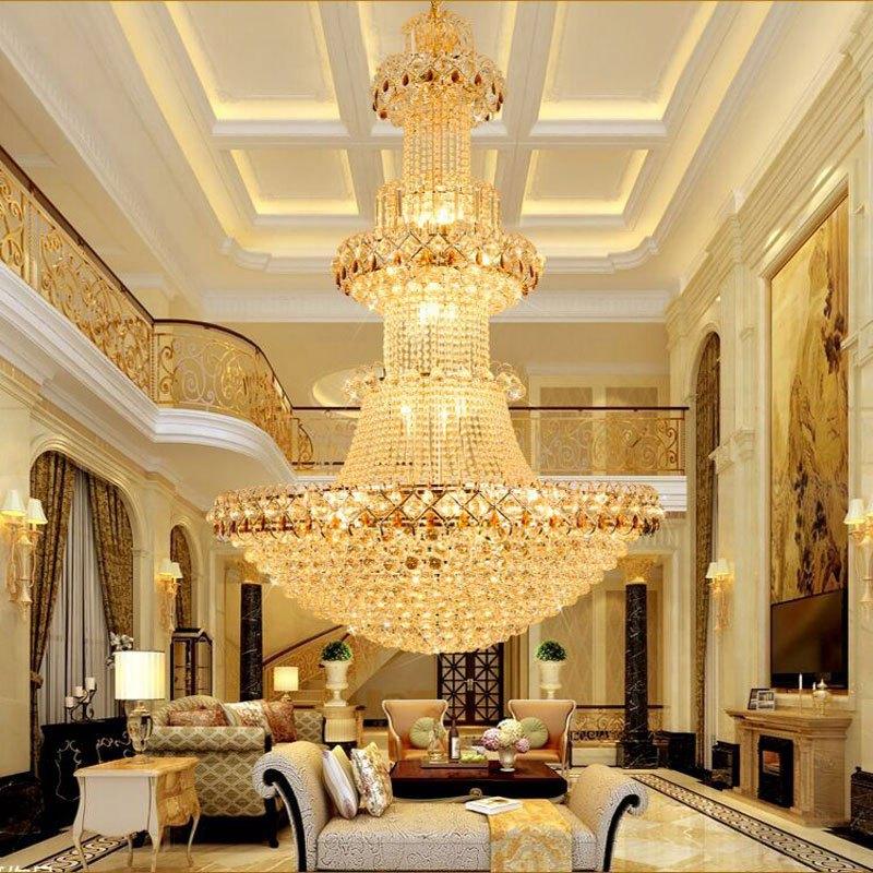 新奥泰佳别墅复式楼梯水晶吊灯 客厅大吊灯 酒店工程金色长吊灯