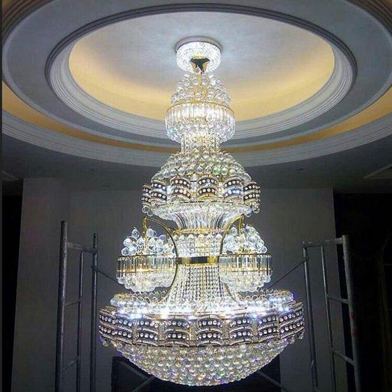 新奥泰佳复式楼客厅大吊灯酒店别墅水晶大厅吊灯楼中楼长吊灯