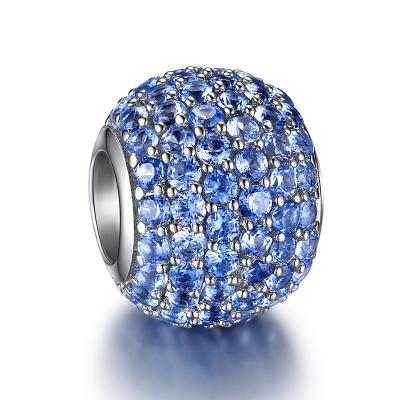 魔幻珠(CHARMS) 尖晶藍繁星水鉆款 925純銀鑲嵌3A鋯石水鉆款925純銀串飾