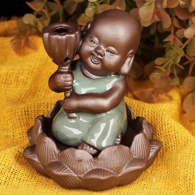 吟秀 古莲莲蓬香炉家居装饰工艺品摆设 陶瓷倒流香炉摆件元宝葫芦
