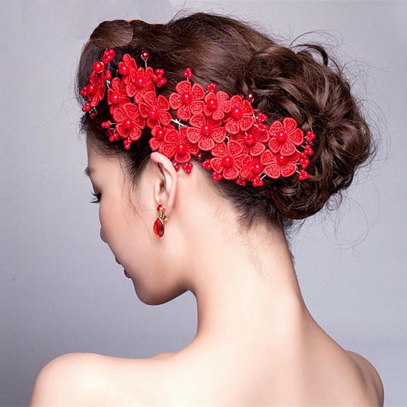 吟秀 新娘头饰韩式红色结婚发饰礼服 配饰婚礼蕾丝头花婚纱盘发盘头