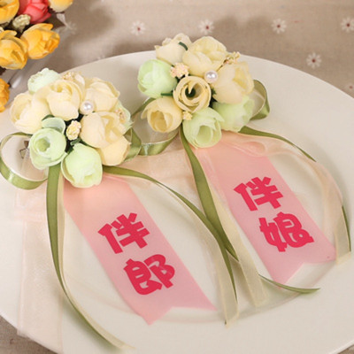 新郎新娘胸花/婚礼用品 胸花结婚 婚庆伴郎伴娘父母胸花飘带 香槟色