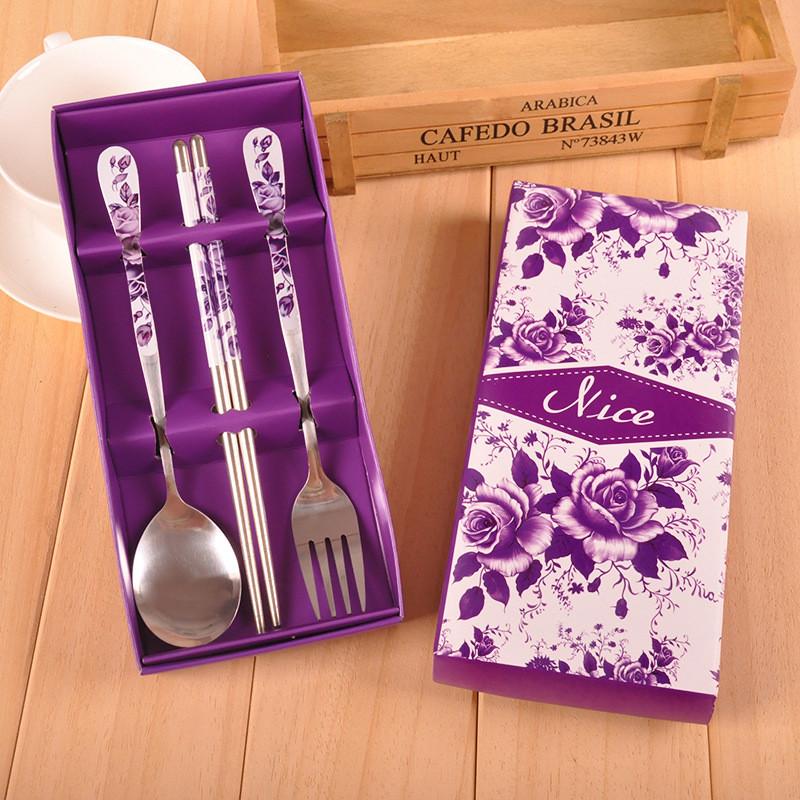 吟秀 结婚回礼小礼品 实用小礼物不锈钢餐具套装 紫玫瑰叉勺筷图片