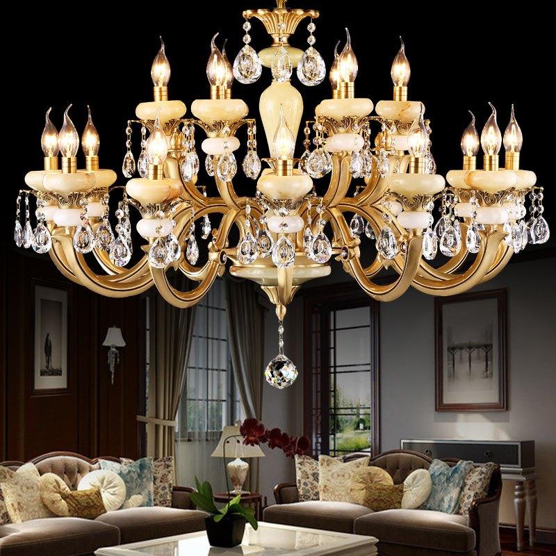 爱灯堡全铜吊灯客厅欧式水晶大吊灯酒店工程玉石灯具别墅复式楼卧室餐