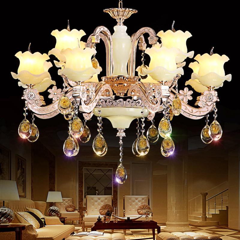爱灯堡锌合金玉石水晶吊灯客厅欧式蜡烛吊灯餐厅酒店