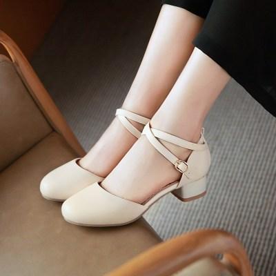 金狒狒韩版新款交叉绑带圆头中空单鞋中低跟时尚夏季女鞋