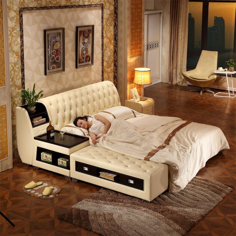 伊莱菲尔 真皮床双人床榻榻米床欧式软体床皮艺储物床图片