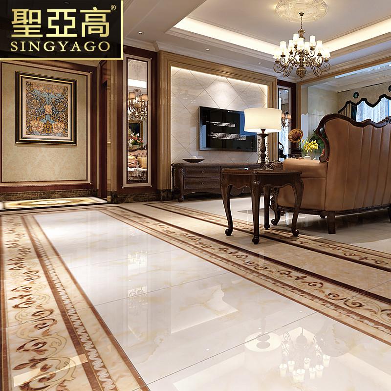 圣亚高瓷砖 客厅抛晶砖地砖欧式中式地毯抛金砖 玄关地心无限拼图