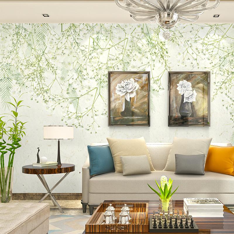 现代简约手绘北欧清新花卉背景墙 沙发墙壁纸卧室墙纸客厅电视墙影视