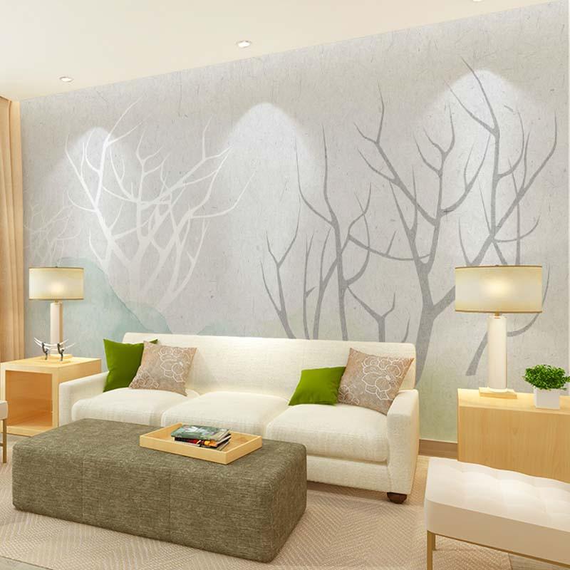 手绘电视背景墙壁纸 定制清新沙发墙壁画影视墙墙纸