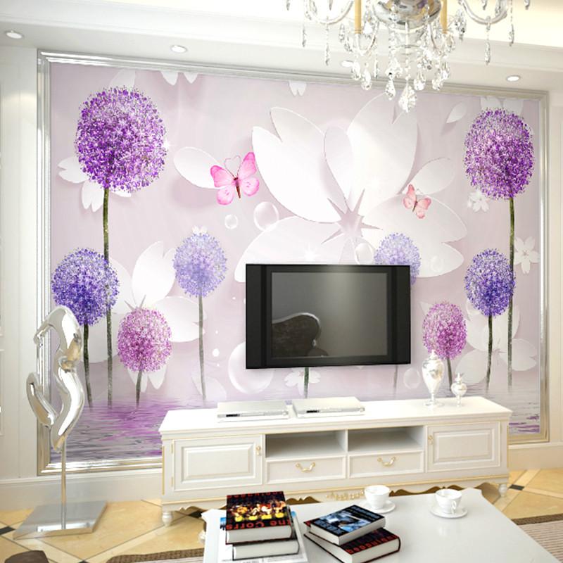 卡茵 現代3d立體大型壁畫 客廳電視背景墻壁紙 清新唯美蒲公英墻紙整