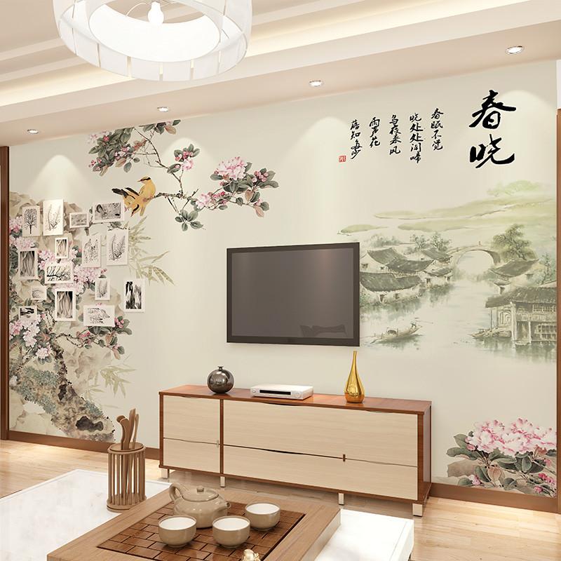 卡茵 中式时尚花卉客厅电视背景墙壁画 沙发墙无缝墙纸 影视墙定制图片