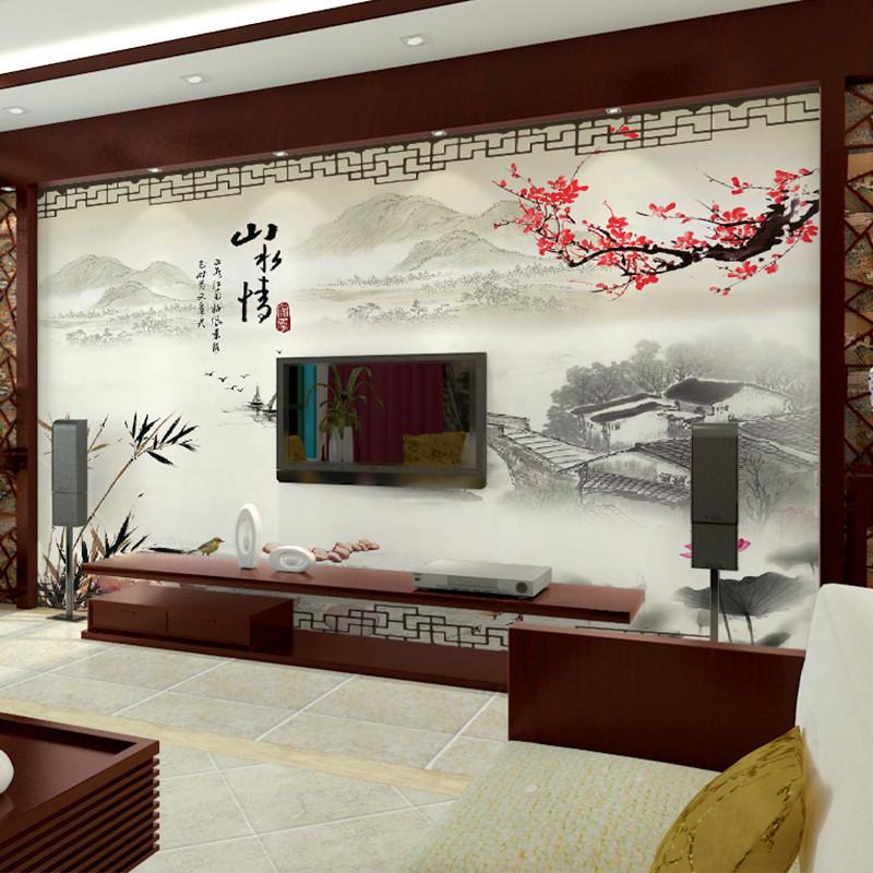 卡茵 中式山水客厅电视背景墙壁画 沙发墙定制墙纸 影视墙创意无缝