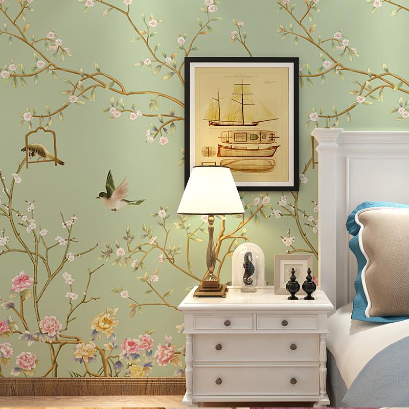 中式花卉無縫大型壁畫