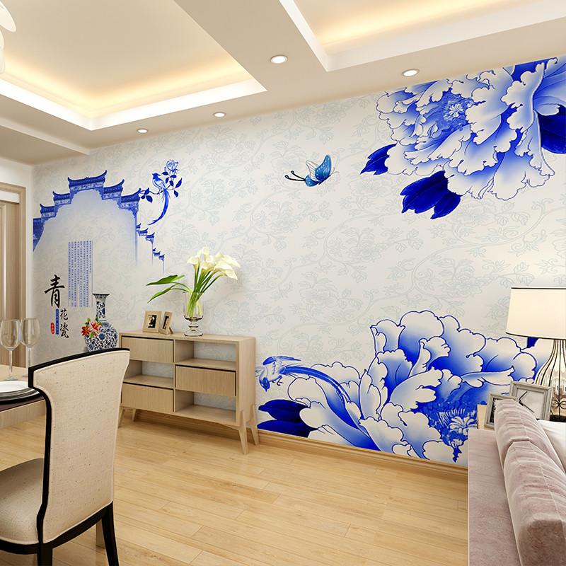 卡茵 中式青花瓷客厅电视背景墙壁画 饭店定制创意墙纸 大型无缝壁纸