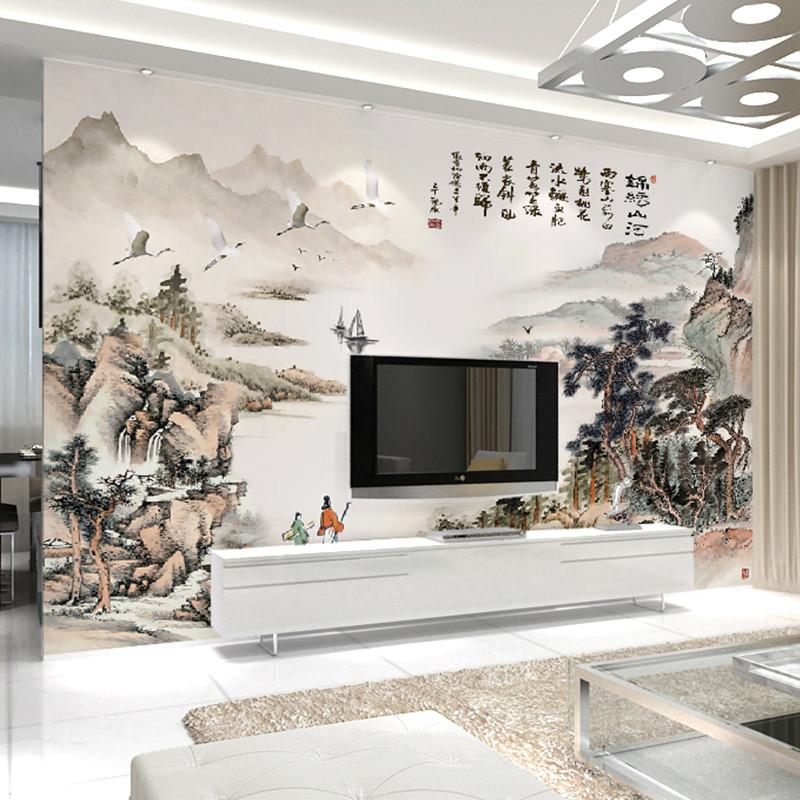 中式水墨山水画墙纸客厅电视背景墙壁画