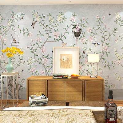 卡茵 美式田园花卉客厅电视背景墙壁纸 沙发影视墙创意壁画 卧室定制图片