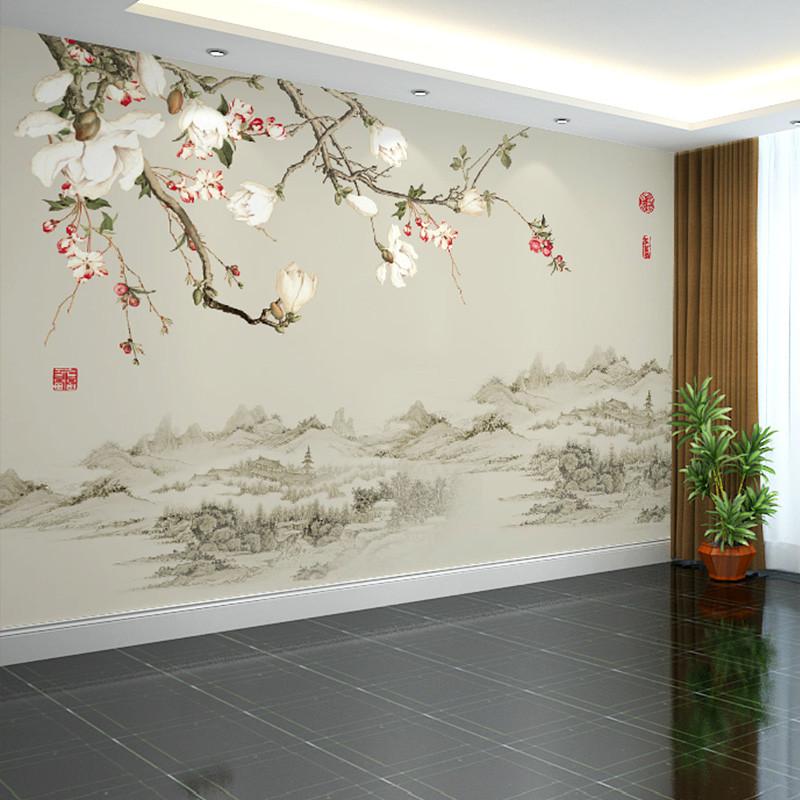 卡茵 中式时尚花卉客厅电视背景墙壁画 影视墙定制水墨壁纸 书房创意