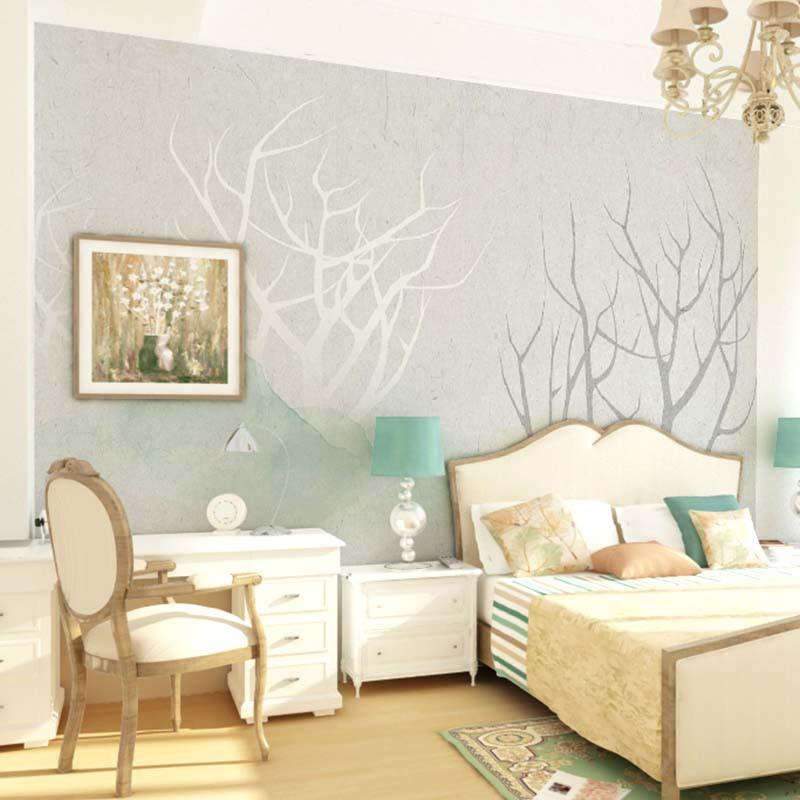 卡茵 北欧风格现代简约手绘电视背景墙壁纸 定制清新沙发墙壁画影视墙