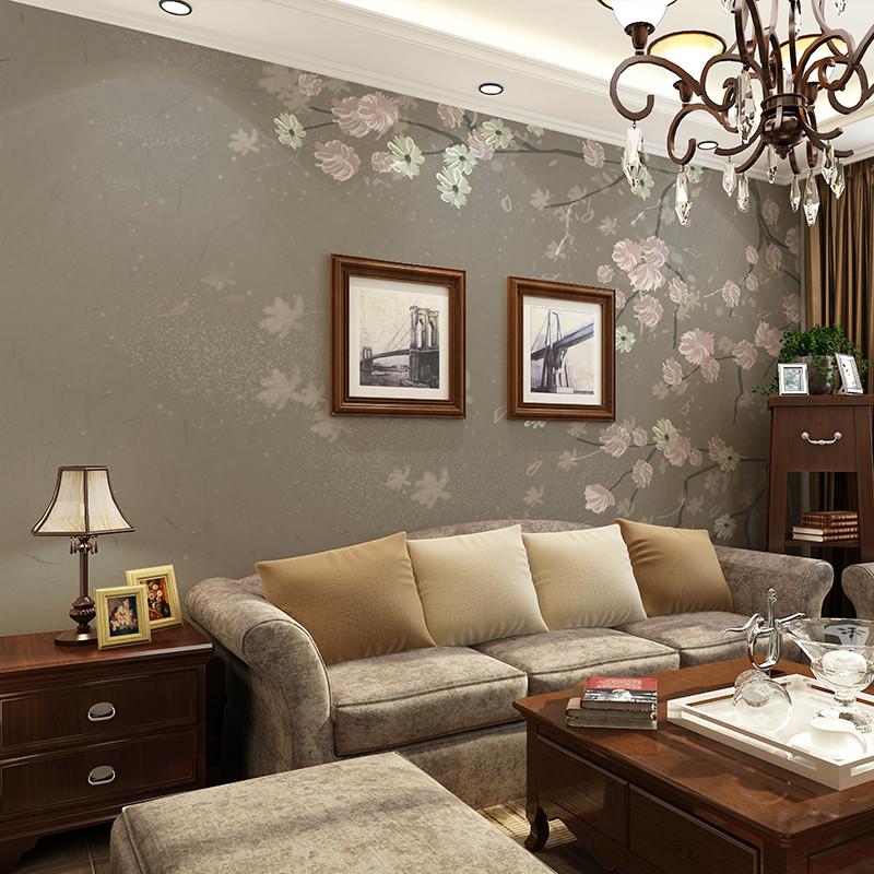 卡茵 复古手绘大型壁画客厅电视背景墙壁纸 无缝影视墙墙纸沙发背景墙