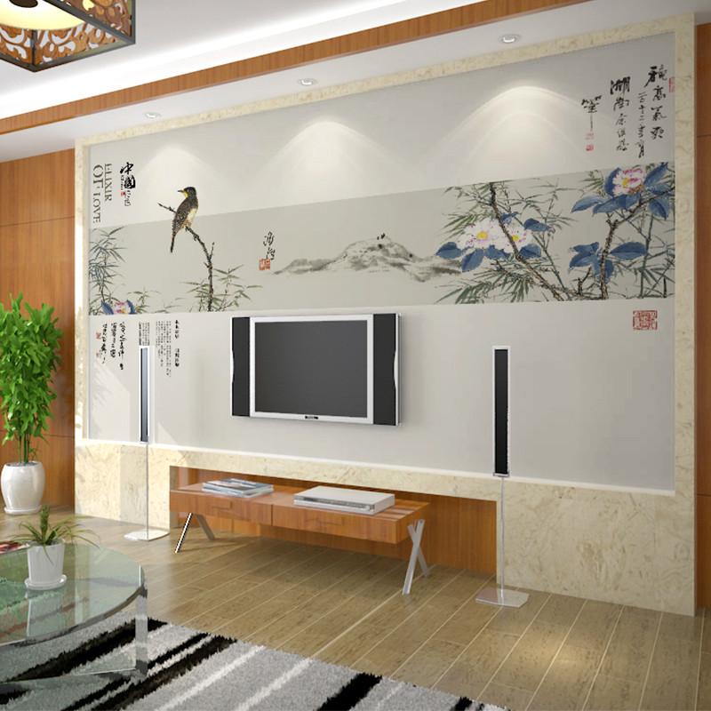 卡茵 中式簡約客廳電視背景墻壁畫 唯美影視墻墻紙可定制壁紙