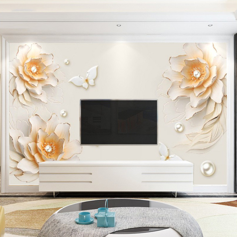 卡茵 欧式客厅电视背景墙壁纸牡丹会议室壁画藤蔓办公