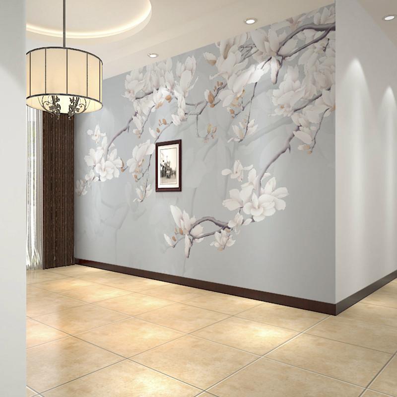 卡茵 手绘高清简约玉兰花电视背景墙壁画定制墙绘手绘壁画书房壁布