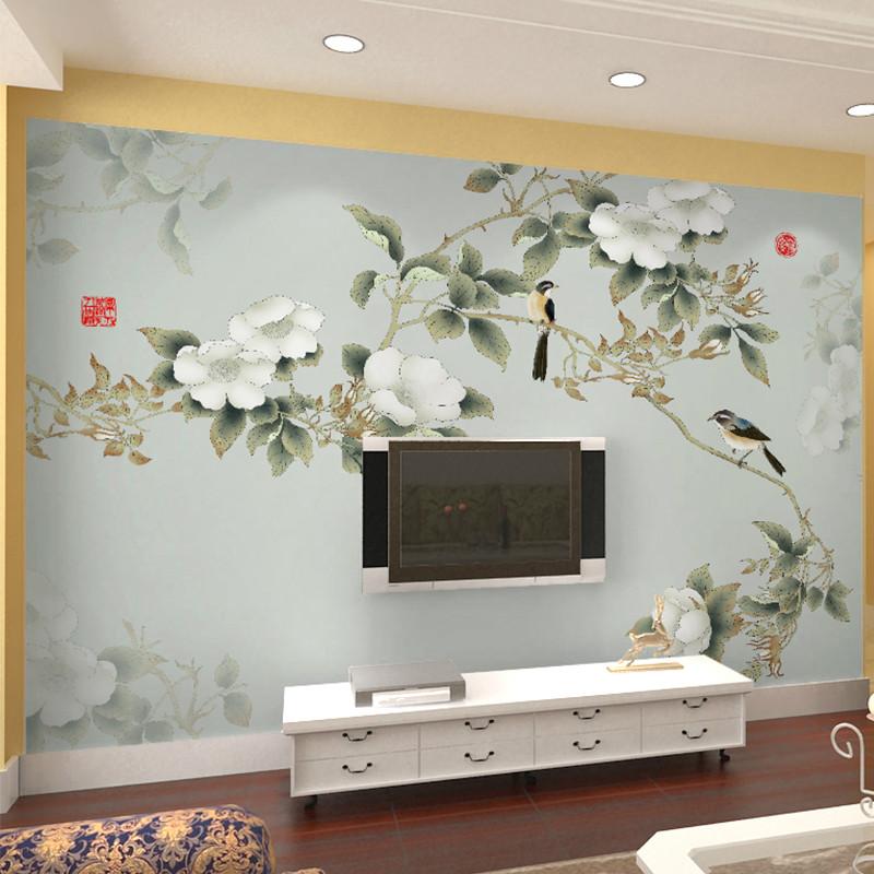 电视背景墙壁画手绘花鸟牡丹图书房无缝壁纸沙发背景墙墙纸影视墙墙布
