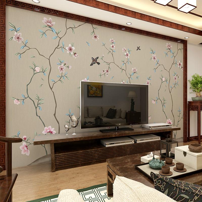 中式电视背景墙壁画工笔书房无缝壁纸花鸟沙发背景墙墙纸手绘墙布图片