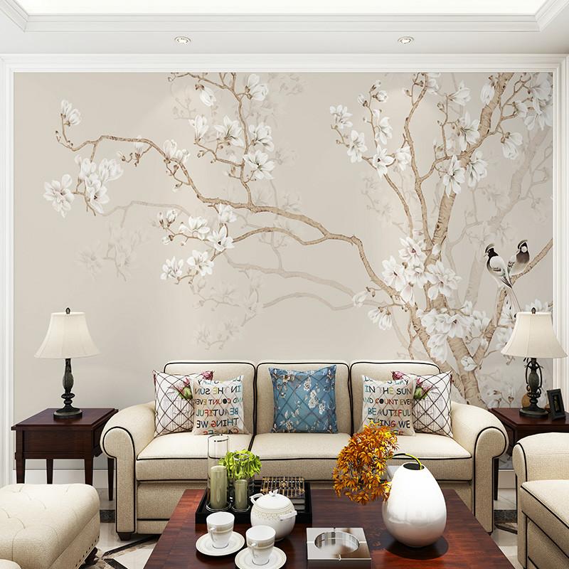 素色玉兰客厅电视背景墙壁纸中式书房壁画手绘花鸟沙发背景墙墙纸