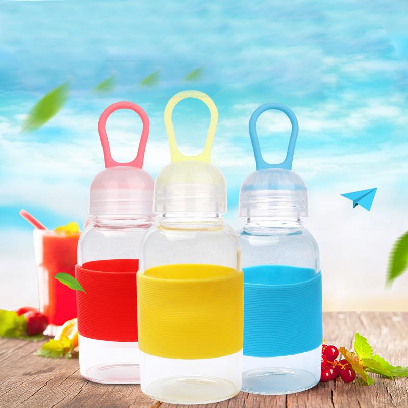 儿童玻璃杯子卡通图案透明水杯 便携玻璃杯可爱透明情侣随手杯茶杯