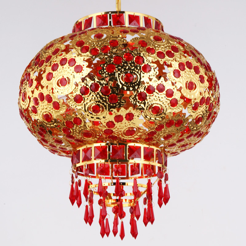 灯笼 吊灯 金属发光灯笼 旋转led福字大红灯笼 新年春节中式走廊阳台