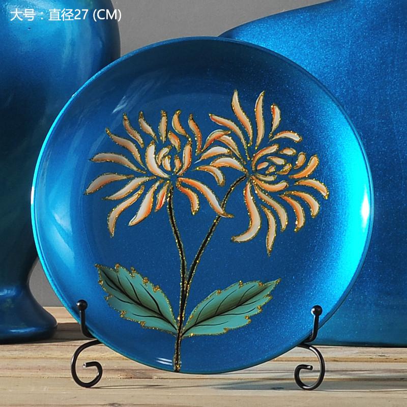 摆盘 工艺品 客厅挂盘摆件 欧式家居装饰品 礼品-蓝色天际圆形大号