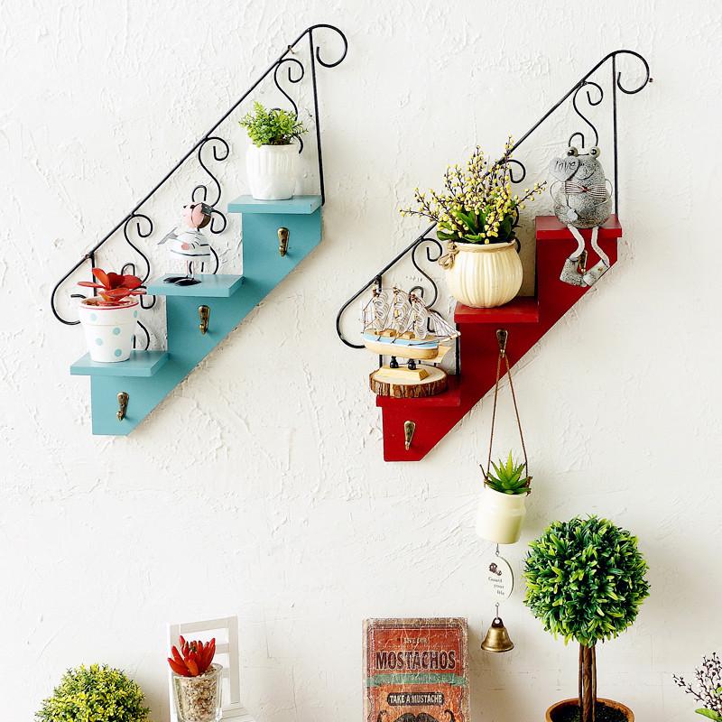 咖啡厅挂钩 墙面装饰品 欧式创意楼梯壁挂 家居客厅阳台花架-杉木报抽