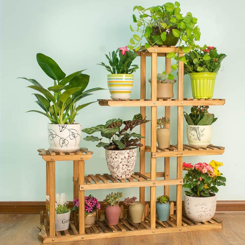 花盆架子 客厅室内花架 实木质花架 多层落地花架-田园型