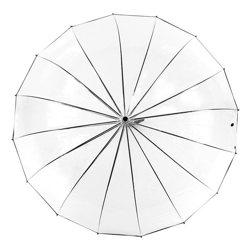16骨加厚透明雨伞 个性小清新直长柄伞 创意自动男女情侣伞