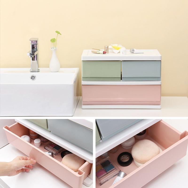 收纳盒多层办公桌面收纳柜抽屉式办公桌上收纳箱塑料储物箱整理柜图片
