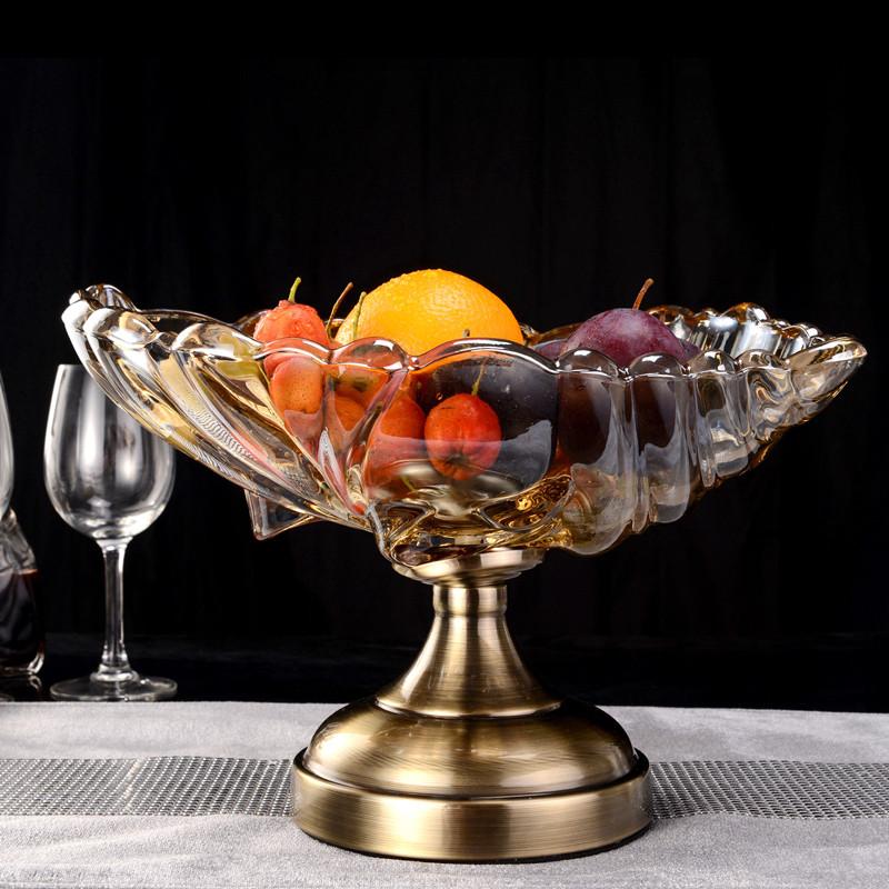 果盘欧式厅摆件水晶玻璃水果盘盆果斗创意干果盘-银色