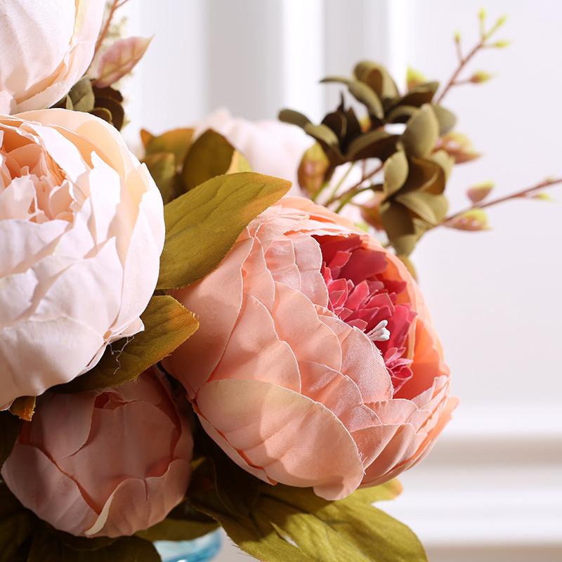 花艺装饰品包芯牡丹仿真花束假花绢花欧式秋色牡丹装饰花摆设-香槟色