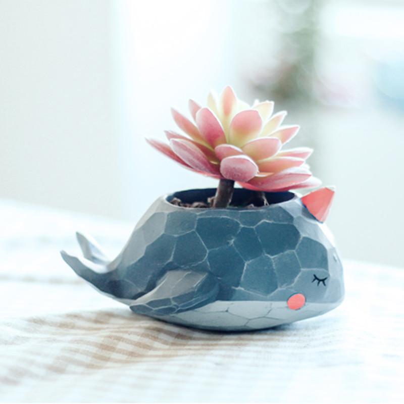 可爱多肉花盆创意卡通小动物植物装饰小摆件盆栽小容器-蓝调小象花盆