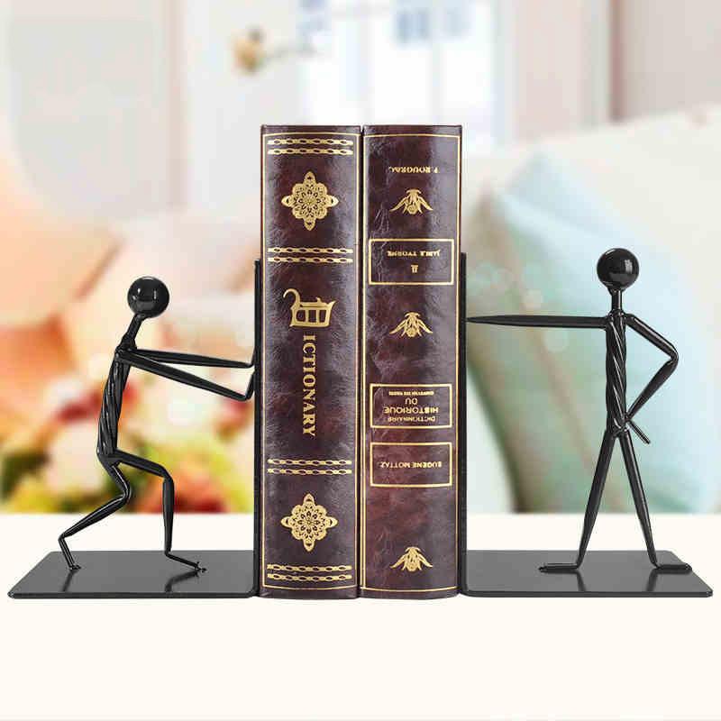书桌摆件装饰品创意铁艺书靠办公室桌面摆件书挡书架书柜小摆设-铁艺