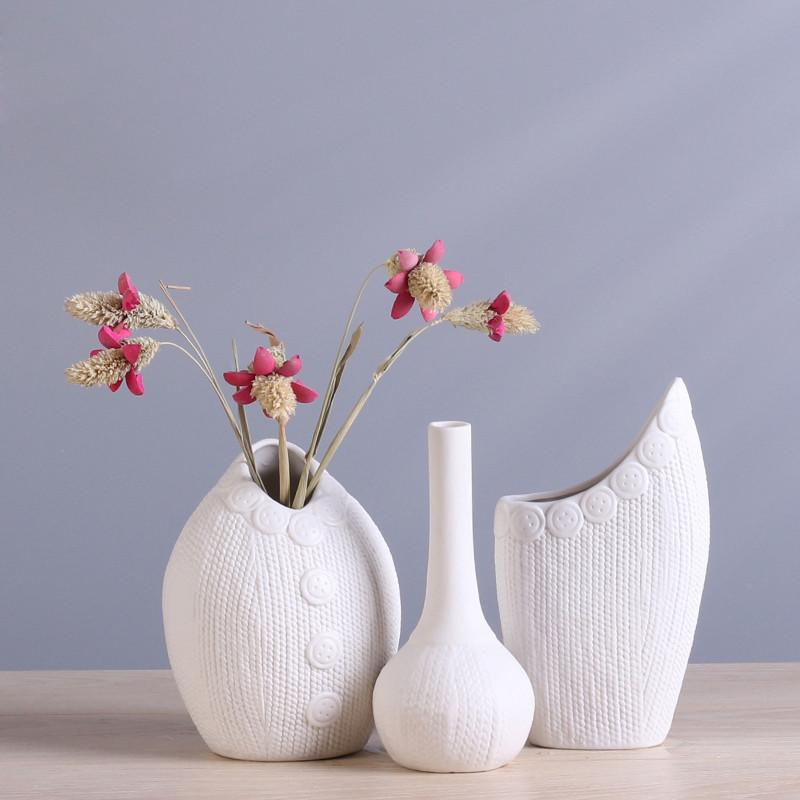 办公桌摆件陶瓷水培花瓶欧式创意家居装饰品客厅酒柜工艺品摆件-扣子
